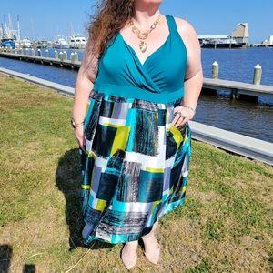 Igigi Teal Mod Brushstroke Midi Dress Size 6X